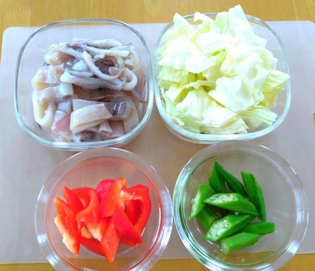 イカと夏野菜の炒めもの材料