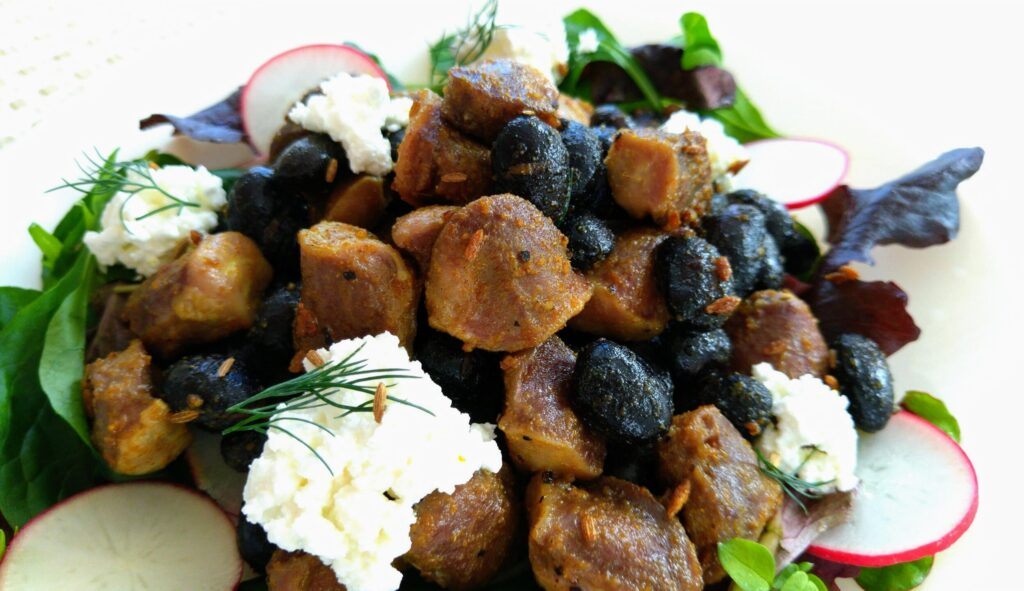 砂肝と黒豆のクミン炒め